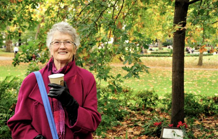 Peggy Seeger at the Ewan MacColl memorial tree